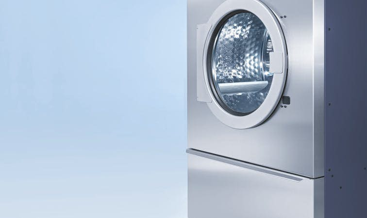 Miele Commercial Dryer, Professional, Series PT8000, PT8253, PT8333, PT8403 Vario, Stainless Steel, Side View