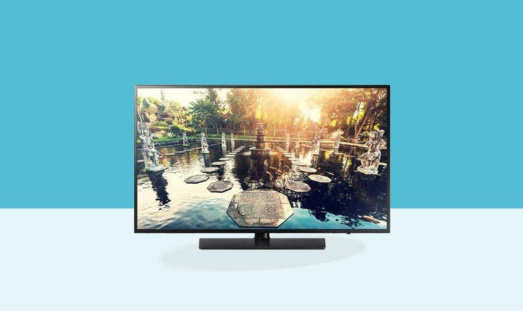 "Samsung 32"" Commercial Hospitality TV HG32EE690 Front View Set on blue background"